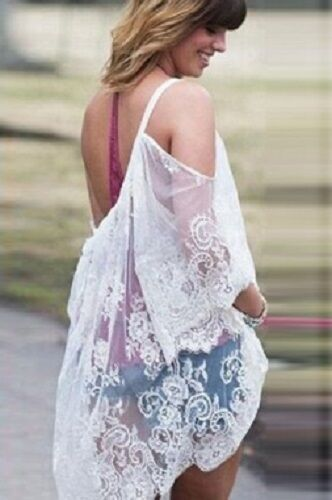 Lace Sexy Cover beachwear Ladies White Casual Off Top Lacy S Shoulder sleeve up fqxTBA