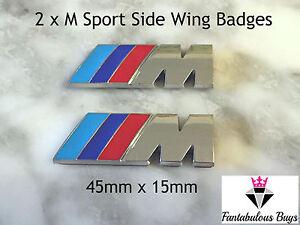 2x-M-Sport-pequeno-Emblema-Pegatina-Lado-Ala-M-Power-Insignia-Metal-Cromado-Nuevo-BMW