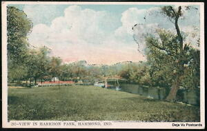 HAMMOND-IN-Harrison-Park-View-Bridge-Vintage-Postcard