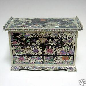 bo te bijoux coffret oriental grand luxe 4 tiroirs rangement miroir nacre asie ebay. Black Bedroom Furniture Sets. Home Design Ideas