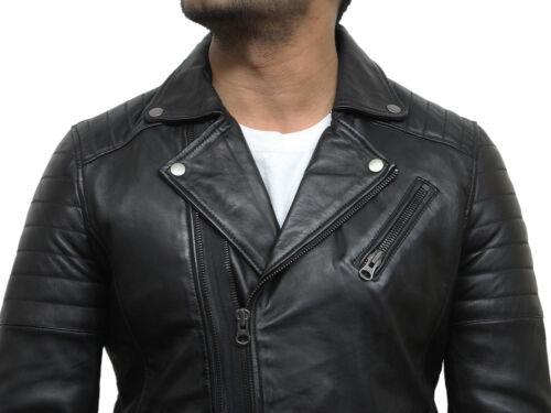 Brandslock Mens Leather Biker Jacket Genuine Lamb Skin