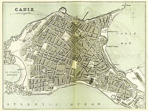 MAP-ANTIQUE-O-039-SHEA-1895-CADIZ-SPAIN-CITY-PLAN-LARGE-REPLICA-POSTER-PRINT-PAM1153