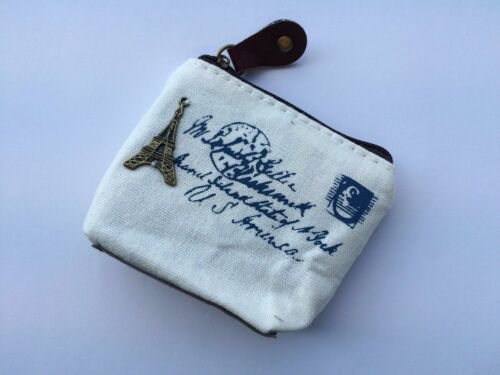 UK Supplier Retro Canvas Zipper Coin Purse Money Card Wallet Vintage Style