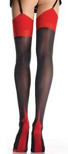 Straps-Strümpfe mit Cuban Heel schwarz-rot