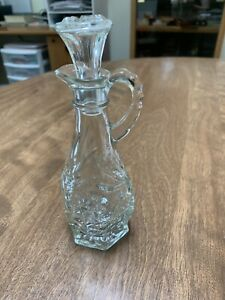 1 Vintage Crystal Clear Cut Glass Oil Vinegar Bottle Cruet W Stopper 8 Ebay