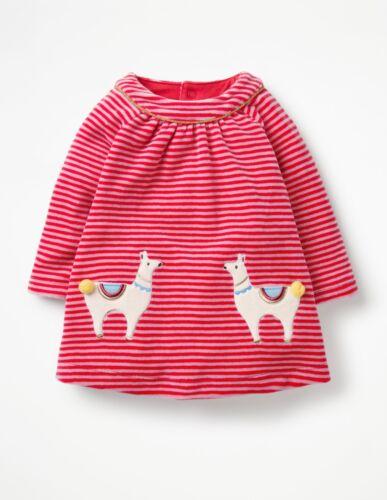 NWT 12-18M  Red Striped Llama Cozy Velour Dress