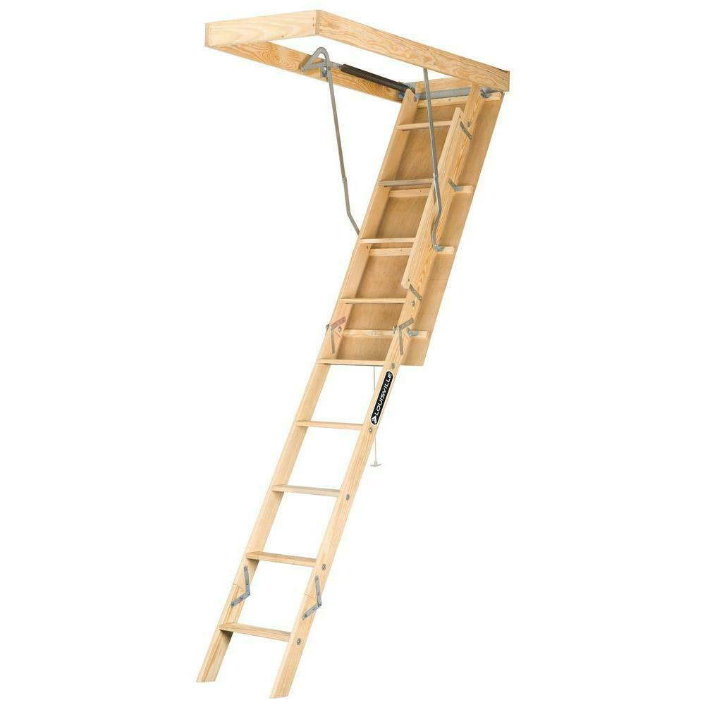 Premium Series 8 ft. - 10 ft., 22.5 in x 54 in. Wood Attic Ladder with 250