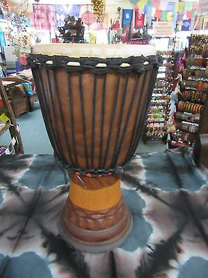 Professional Handcarved Djembe African Style Bongo Drum Mahogany Wood 50cm