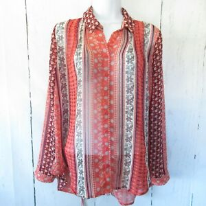 Free-People-Top-X-Small-XS-Orange-Button-Down-Top-Coral-Floral-Long-Sleeve