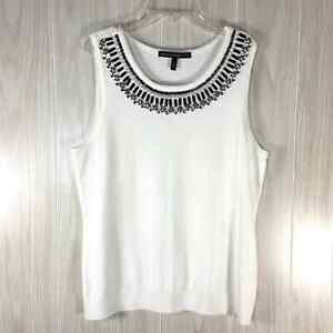 White House Black Market Sleeveless Beaded Sweater Women's Size L Cream/ Black