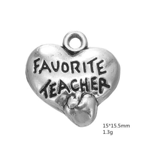 10pcs Antique silver plated  favorite teacher heart engraved Charm pendant M0232