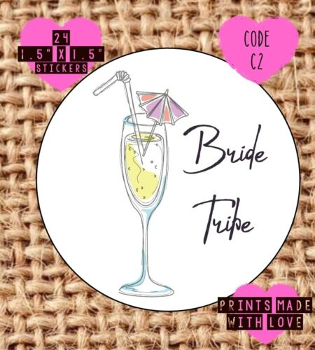 C2 cocktails hen night hen do Bride tribe personalised stickers