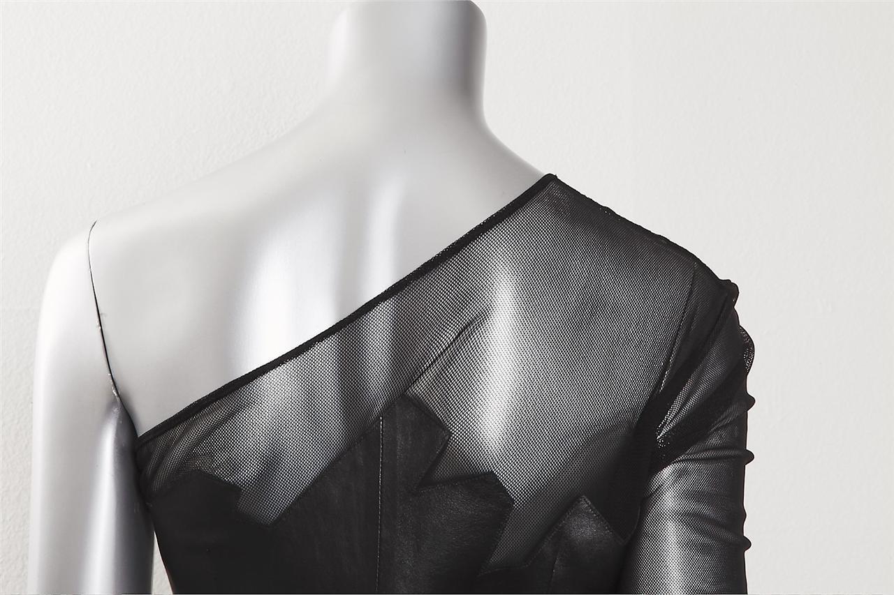 Jean Claude Jitrois Damen Schwarzes Leder Stretch Schulterfrei Schulterfrei Schulterfrei Kurzes Kleid 7b0488
