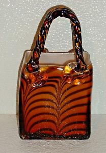 Art-Glass-Purse-Vase-Vtg-Hand-Blown-7-25-034
