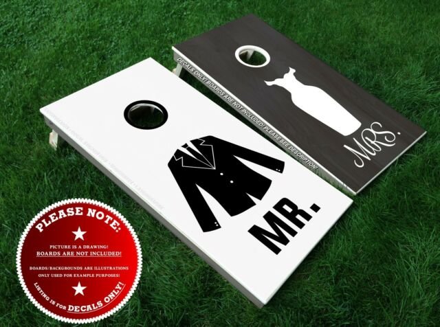 Mr Mrs Board Decals Bean Bag Toss Wedding Bride Groom Stickers Diy