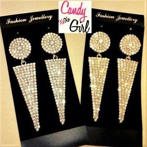 Crystal Diamante Geometric Rhinestone Long Drop Fashion Earrings