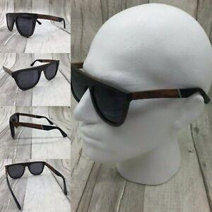 Men's Ebony Wood Frame Smoke Tinted TAC Polarized Sunglasses 100% UV 400