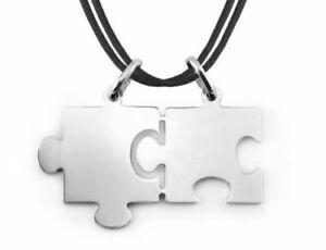 Ciondolo Puzzle Spezzato XL Dolce Metà in Argento 925 + 2 Lacci Neri + Incisione