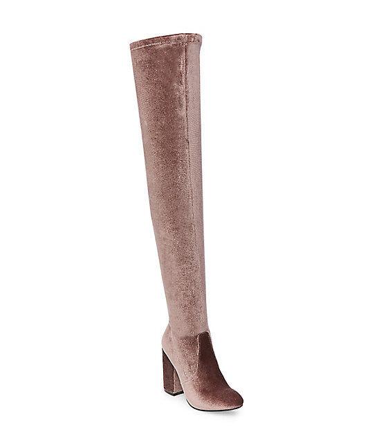 Steve Madden Norri-V Taupe Velvet Over-the-Knee Boots Women's Size 6.5 *New/NIB*