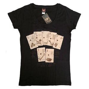 Lucky 13 Retro Rockabilly Punk Fortune Womens Scoop Neck Tee T Shirt Size XL