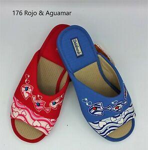 Ladies Slipper - DeValverde  176  Fish - Rojo Aguamar (Red & Light Blue)