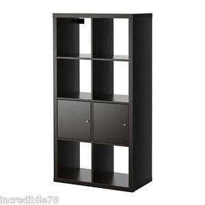IKEA KALLAX Scaffale libreria con ante, marrone- nero EX EXPEDIT | eBay