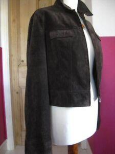 Denim Cropped 10 echte Dames Style maat suede jas Next 12 Brown Vk leren aAA7vzx