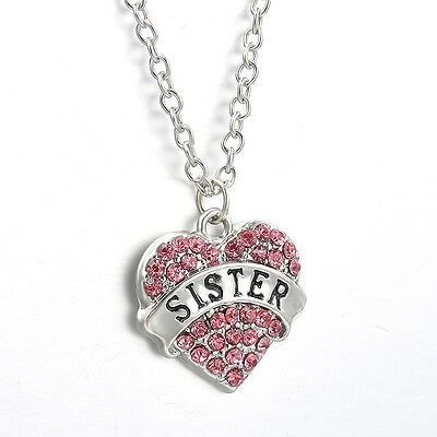 Family Gifts Love Heart Pendant Crystal Rhinestone Necklace Chain Jewelry Charm