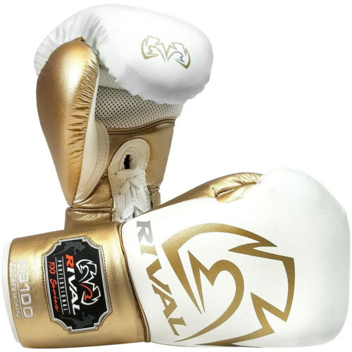 White//Gold Rival Boxing RS100 Pro Sparring Boxing Gloves