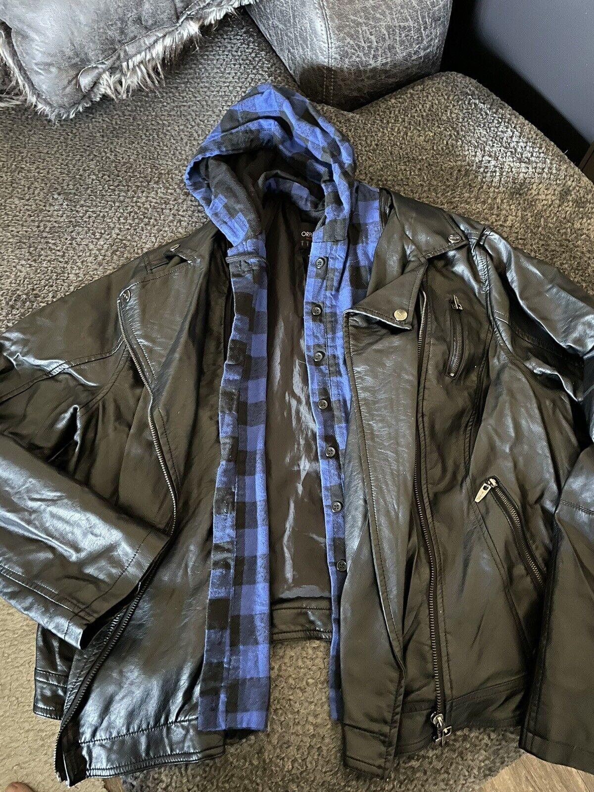 Torrid Black Biker Jacket Hooded Plaid 2 2XL 16 / 18 Punk Goth Emo Plus Sized