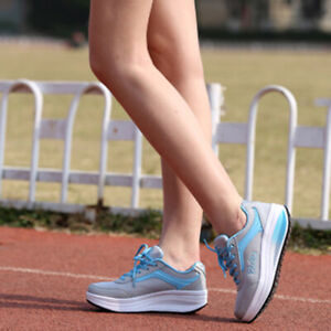 Womens Running Suede Sports shoes Shape Ups Lace up Walking Athletic Sneaker New