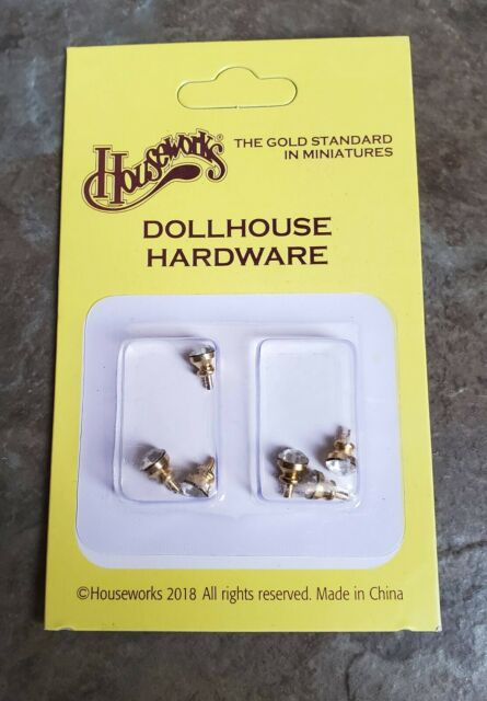 Dollhouse Miniature Door Knobs or Drawer Pulls Tiny Crystal & Gold Set of 6 1:12