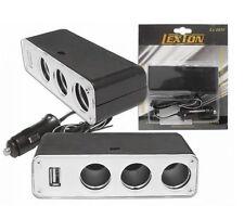 Lexton Verteiler für KFZ-Zigarettenanzünder USB + Buchse 12V / 24V x 3