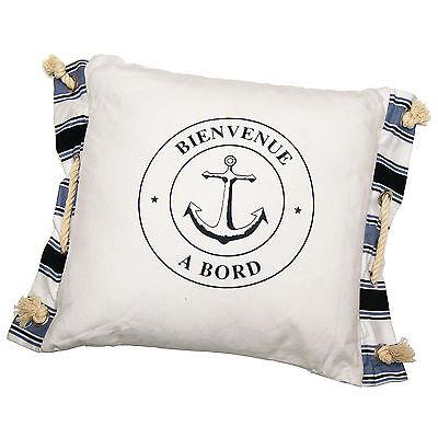 Dekoratives Kissen weiß Sitzkissen 38 x 51 cm Maritim Anker Bien Venue a Bord