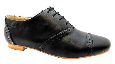 Ruby ROCKS MONTY mujer formal en Negro Con Cordones Oxford Punta Zapato Estilo