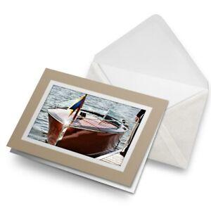 Greetings-Card-Biege-Vintage-Wooden-Speed-Boat-2260