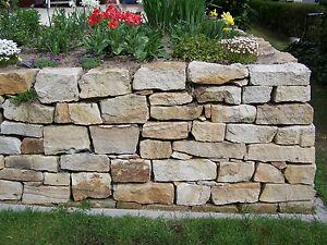 trockenmauer sandstein bruchstein brocken gartenmauer ruinenmauer ebay. Black Bedroom Furniture Sets. Home Design Ideas