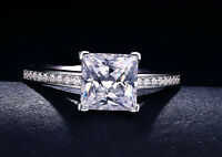 Princess Cut Engagement Ring Brilliant Diamond Cut Real Solid 14k White Gold