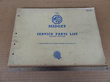 CATALOGO ORIGINALE RICAMBI 1962 BMC MG MIDGET SPIDER SERVICE PARTS LIST