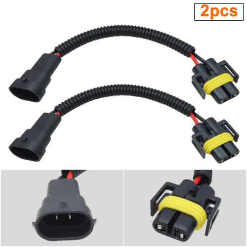 2pcs H11 H8 Extension Wiring Harness Socket Connector for Headlight or Fog Light