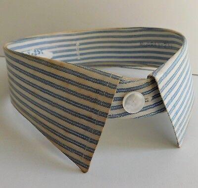 "Detachable coloured shirt collar 16.5"" blue and white stripe vintage 1940s 1950s"