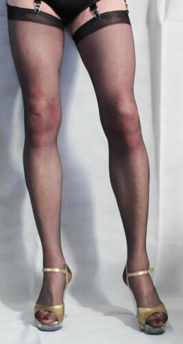 Extra Long 10 Denier Black Super Sheer Satin Sheen Cuban Heel Seamed  Stockings