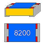 SMD-resistenza 820 Ohm 1/% 0,063w forma con 0402 CINTURE