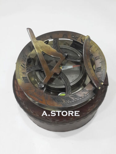 Details about  /Beautiful Sundial Compass  Nautical  Brass West London with antique Leather Case