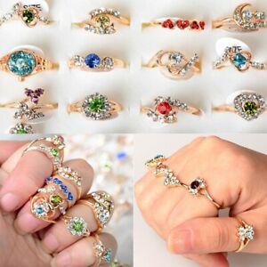 Wholesale-Mix-Lots-10pcs-Crystal-Rhinestone-Silver-Plated-Rings-Fashion-Jewelry