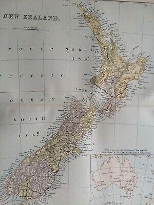 1891 New Zealand Original Antique Map Vintage Old Wall Map Political Map    eBay