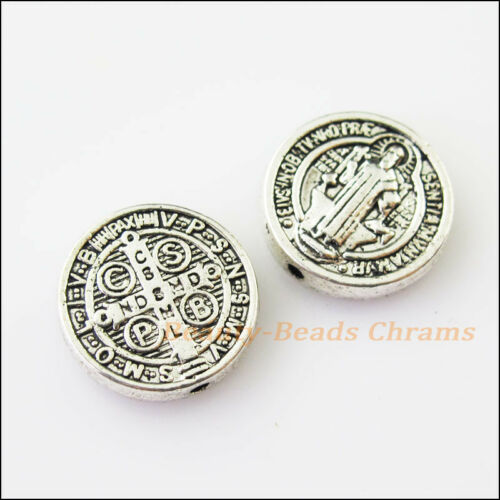 5Pcs Tibetan Silver Tone Jesus Cross Round Spacer Beads Charms 15mm