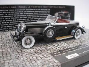 DUESENBERG-modello-J-Torpedo-convertibile-Coupe-1929-NERO-1-43-Minichamps-NUOVO