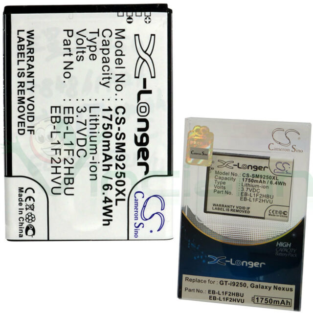 Batteria SM9250XL X-Longer per SAMSUNG Galaxy Nexus i9250 1750mAh EB-L1F2HBU