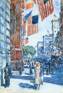 Flags, Fifth Avenue by Childe Hassam Giclee Fine ArtPrint Repro on Canvas